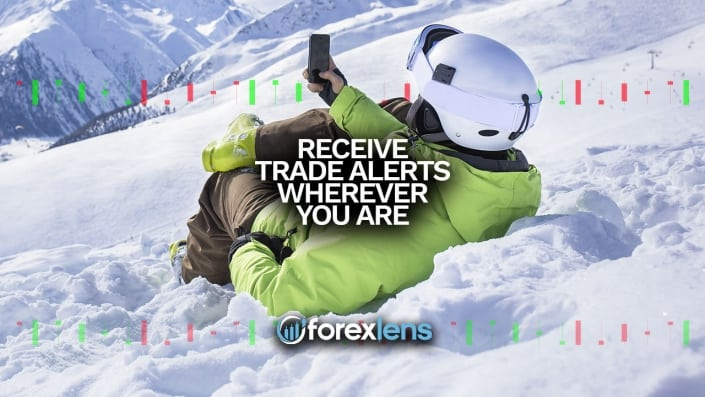 Man checking his mobile phone while on his snowboard he is receiving trade alerts from the Forex Lens Portal