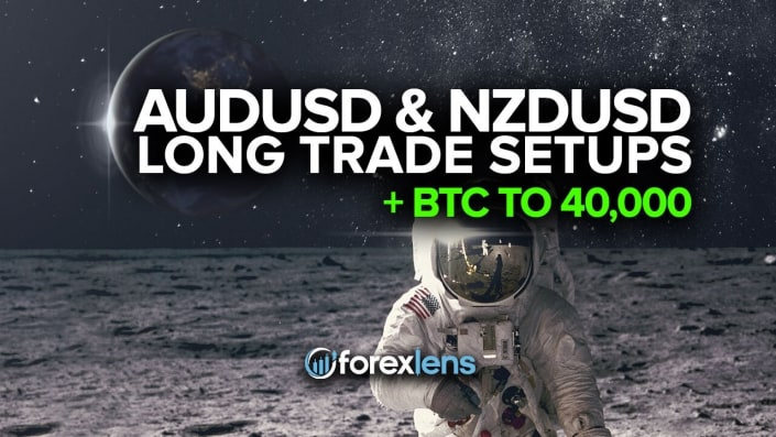 AUDUSD and NZDUSD Long Trade Setups + BTC to 40,000