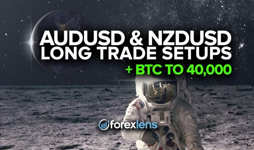 AUDUSD and NZDUSD Long Trade Setups + BTC to 40,000