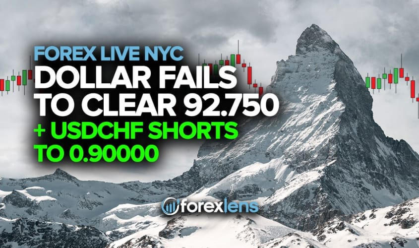 Dollar Fails to Clear 92.750 + USDCHF Shorts to 0.90000