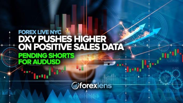 DXY pousse plus haut sur les données de vente positives + Shorts en attente pour l'AUDUSD